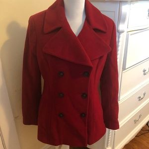 DKNY  SZ 10 Red Wool  Double Breasted Pea Coat.